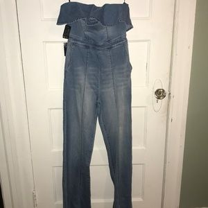 Bebe Denim Off the Shouler Ruffle Jumpsuit Size 0